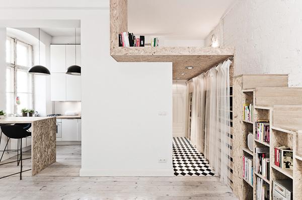 Boiserie c mini appartamento di 29 metri quadri con for Quadri per appartamento
