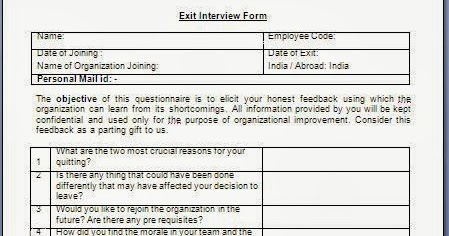 exit interview form for employees