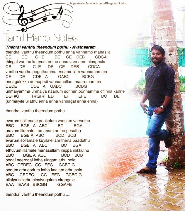 Tamil Piano Notes: Thenral Vanthu Theendum Pothu