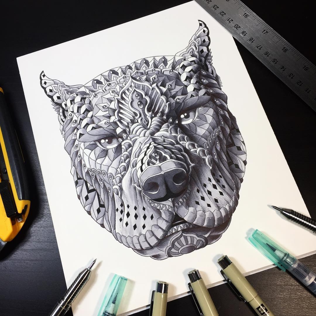 09-Pit Bull-Ben-Kwok-bioworkz-Animals-Drawings-Detailed-with-Elaborate-Geometric-Shapes-www-designstack-co