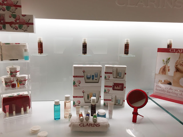 A range of Clarins products on a white background