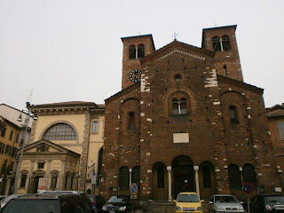 The church of San Sepolcro in the square of the same name in central Milan, where Mussolini launched his Fascist party