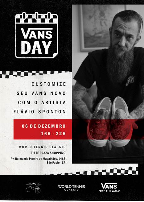 World Tennis Classic do Tietê Plaza Shopping prepara Vans Day com artista Flávio Sponton