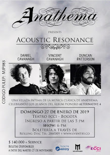 POSTER Concierto acústico de ANATHEMA en Bogotá 2019