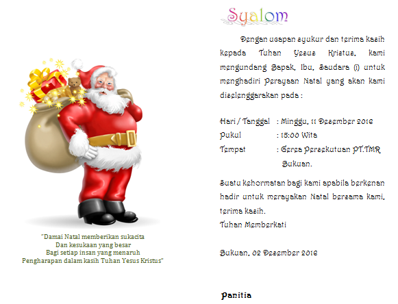 Contoh Undangan Perayaan Natal Terbaru Untuk Semua Gereja Mastimon Com