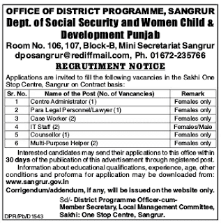 Social Security Department Punjab Sarkari Naukri 2018 – 09 Helper, Worker & Other Posts