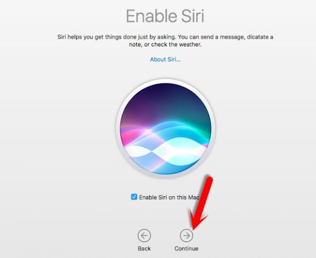 Enable Siri and Click Continue- Setup Assistant Screen-6