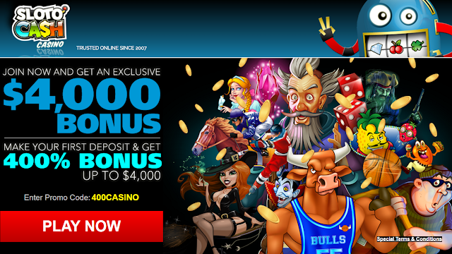 Sloto Cash casino 400% Welcome Match Bonus | RTG