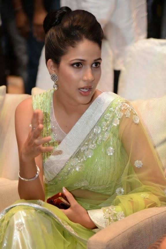 Lavanya Tripathi Hot Photos at Audio Release In Transparent Green Saree