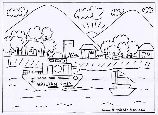 12. Gambar Kapal, Perahu di Sungai dan Pegunungan