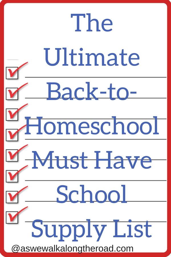 List of homeschool school supplies