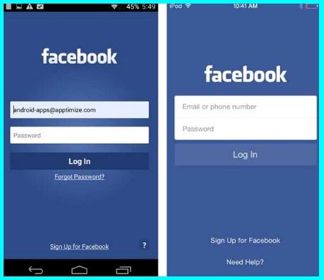 facebook login mobile app