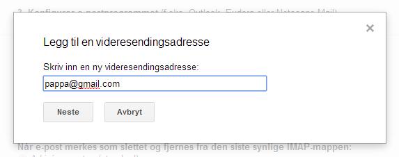 gmail konto innstillinger