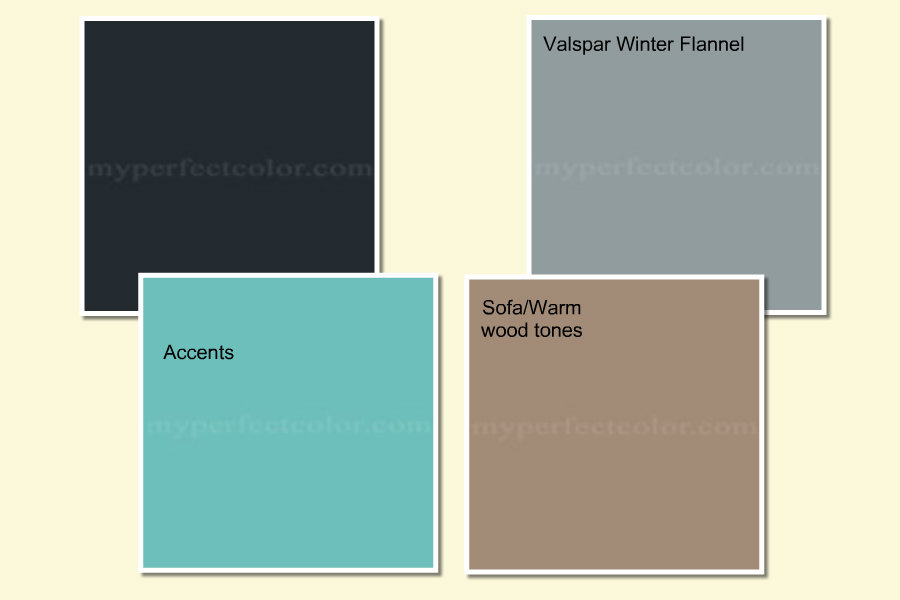 In This Palette I Chose A Bluer Gray It Will Go Nicely With The Sofa But Aqua Accents Don T As Well That Shade Of So Changed