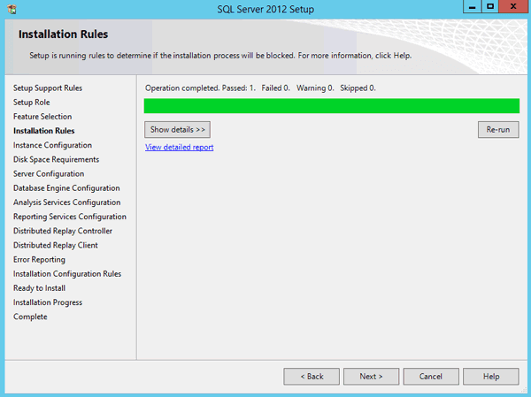 SQL Server Setup runs rules