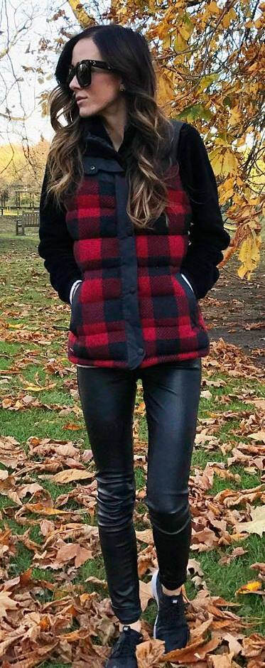 what to wear with a plaid vest : sweater + leather skinnies + sneakers