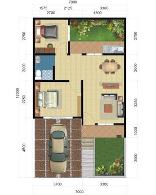Denah Rumah Sederhana 2 Kamar