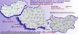 Cum arată PIB-ul pe cap de locuitor la nivel de județe în Bulgaria, Ungaria și România