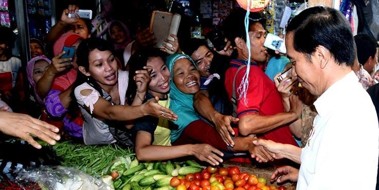 Presiden Jokowi memantau harga cabe, di Pasar Kajen, Kota Pekalongan, Jateng, Senin (9/12017) pagi.