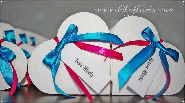 pudełeczka podziekowania winietki dla gości weselnych