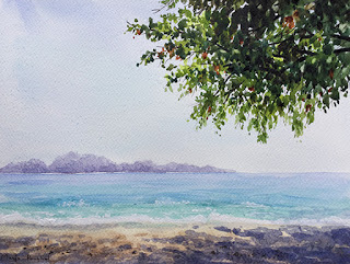 An original water colour painting of a beach at Maldives on Fabriano paper by Indian artist Manju Panchal