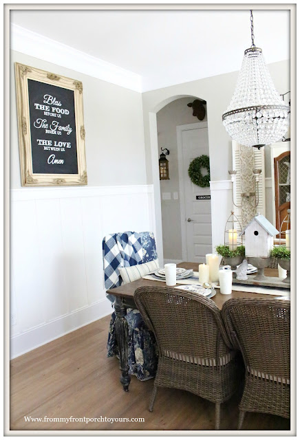 French Country Farmhouse-Dining Room-Blue and White-Buffalo Check-Chalkboard-Mia Chandelier-Pottery Barn-From My Front Porch To Yours