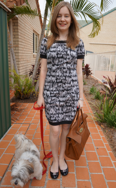 French Connection print dress for the office patent black flats oak bag