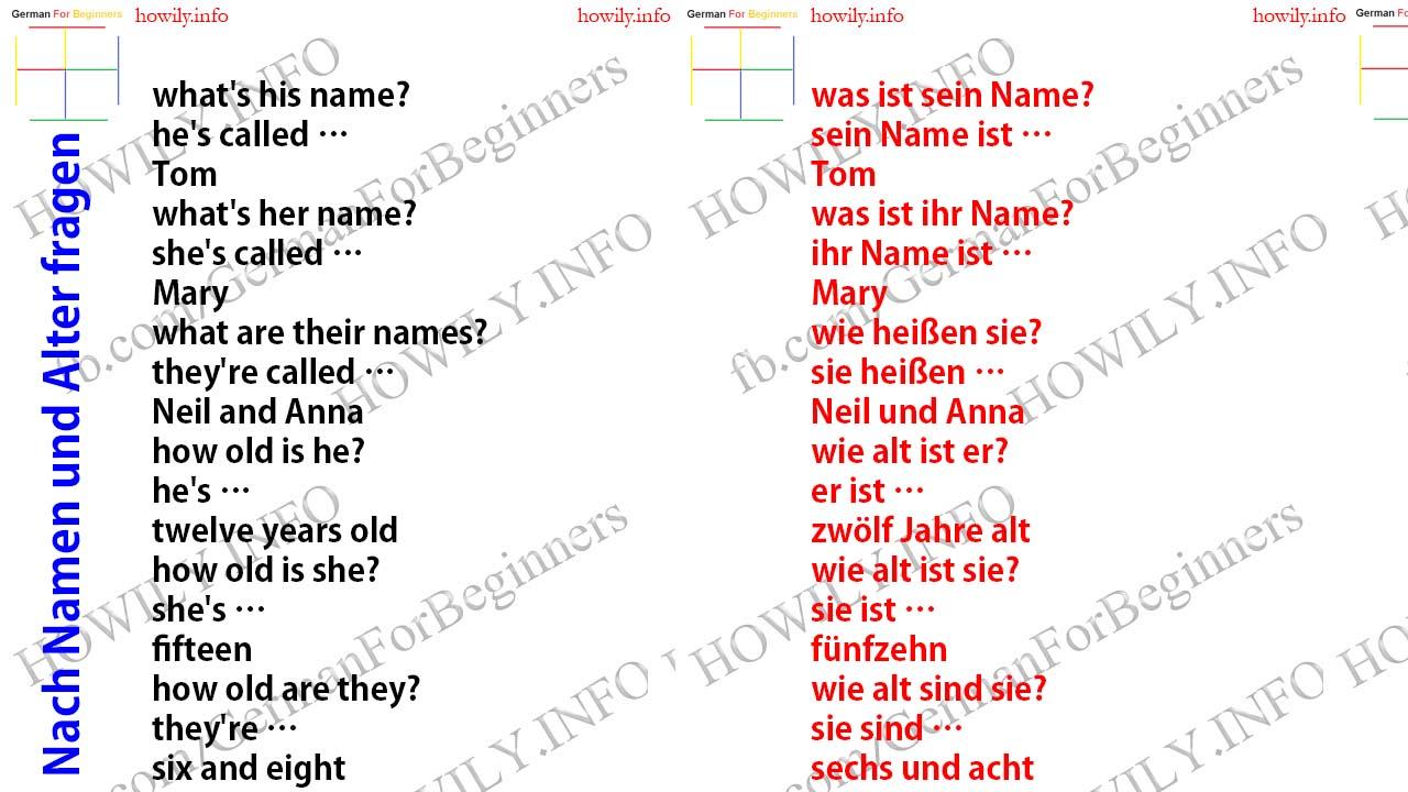 German For All Deutsch Fur Alle Nach Namen Und Alter Fragen