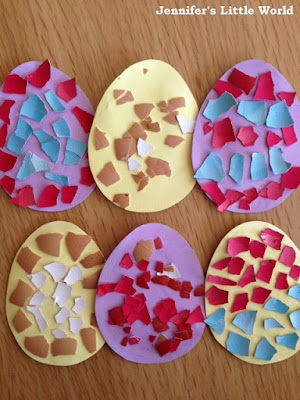 Dyed egg shell Easter craft mosaic