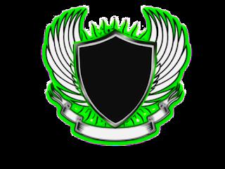 Logo Polos Perisai Bersayap tengah hitam