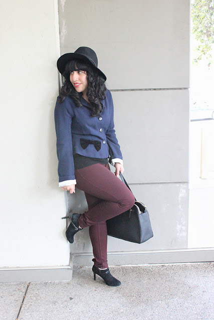 Navy Coat, Burgundy Pants, Hat and Booties Fall Outfit