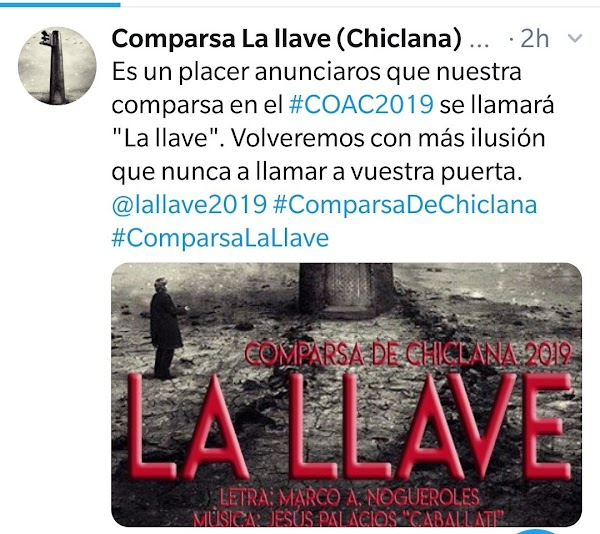 La Comparsa de Chiclana en 2018 'Se Buscan Valientes' será para el COAC 2019 'La Llave'