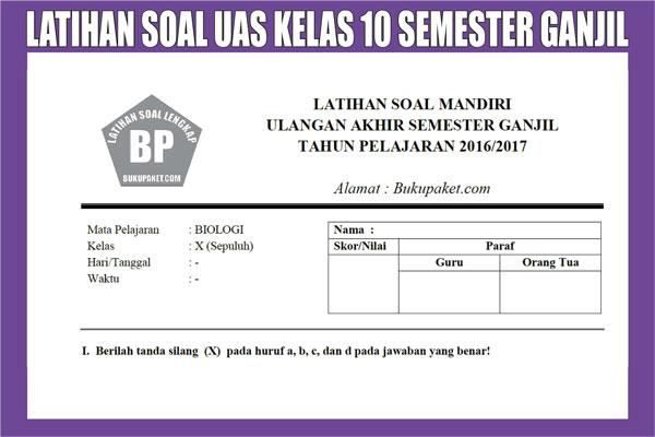 Latihan Soal UAS Kelas 10 SMA Semester 1 (ganjil)