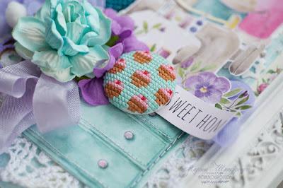 вышивка кексики миниатюра панкейки бирюза мята вышивка и скрап