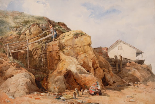 "Artwork, XIX century art, watercolours, ""A sketch, coastal scene"" by John Henry Mole, 1867."