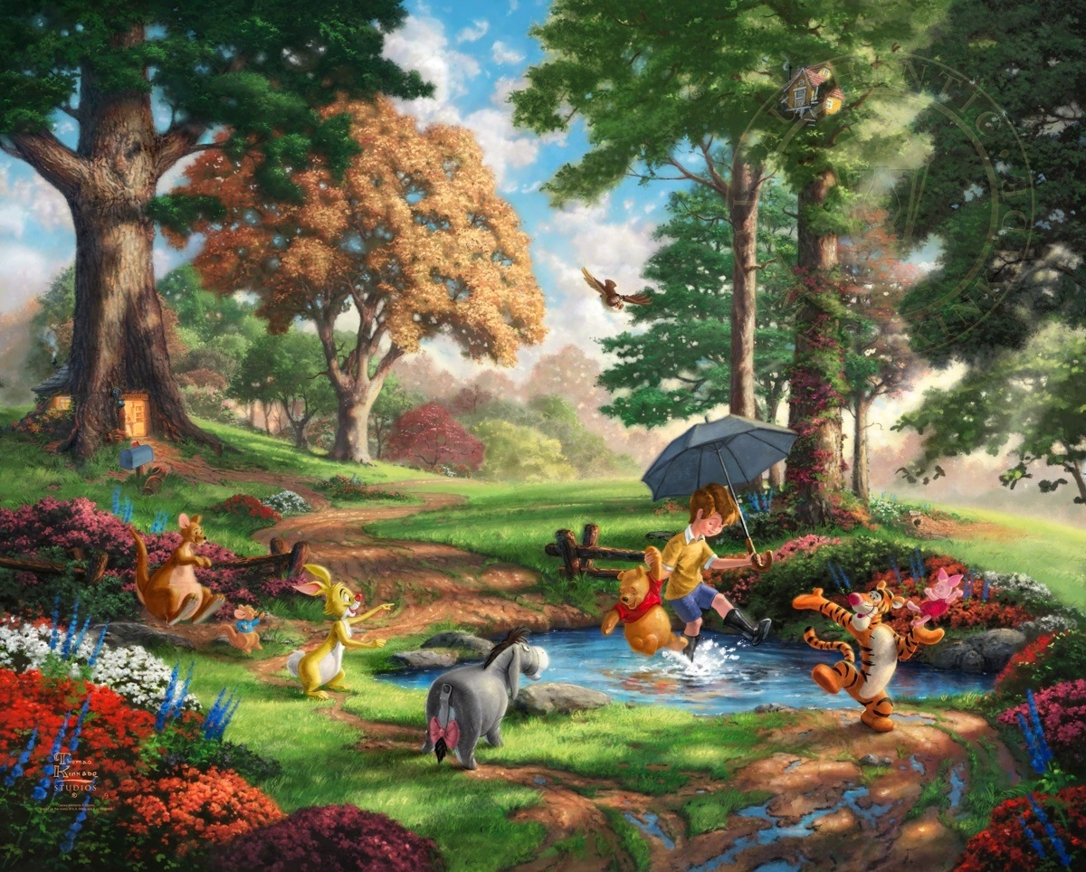 15-Winnie The Pooh-Thomas-Kinkade-Walt-Disney-Stories-Seen-Through-Paintings-www-designstack-co