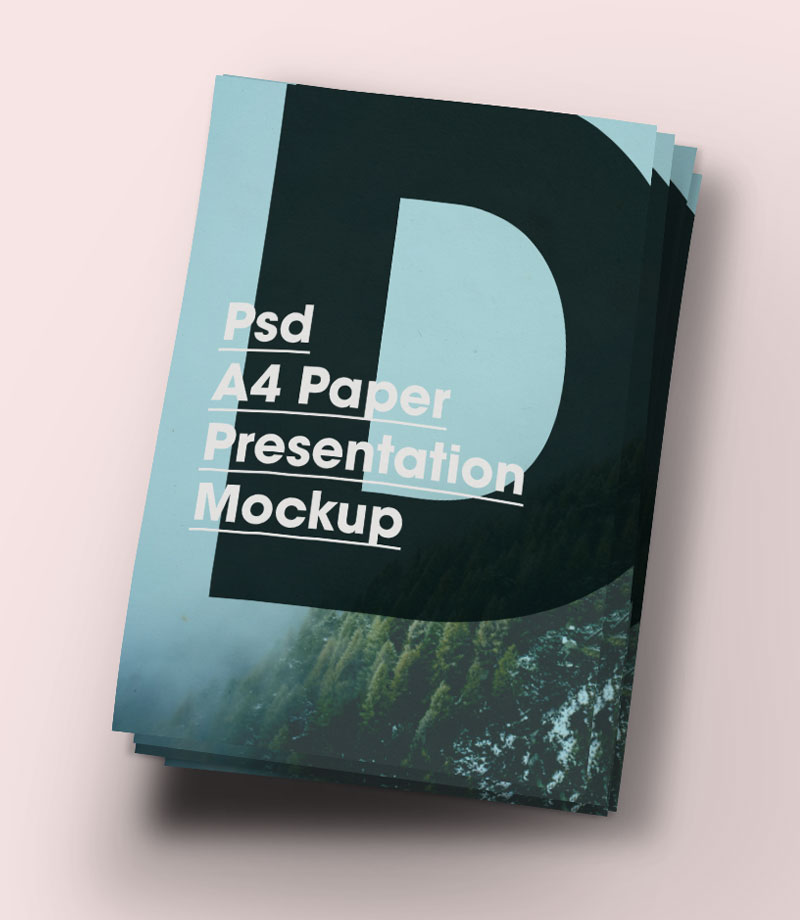 A4 Paper Brochure Mock-Up PSD