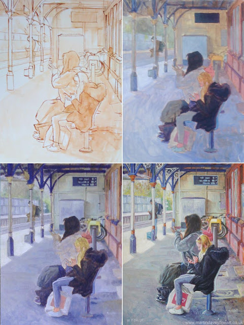 people on station art in WIP Martin Davey