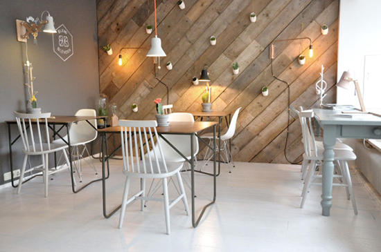 Desain interior cafe berkonsep scandinavia