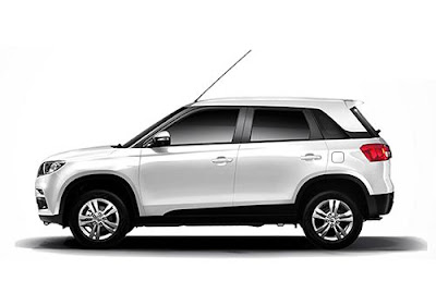 Maruti Suzuki Vitara Brezza amazing white color side pose