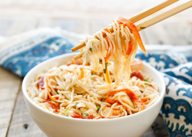Sweet and Sour Noodle Bowls are an easy weeknight dinner that everyone loves! get the recipe at barefeetinthekitchen.com