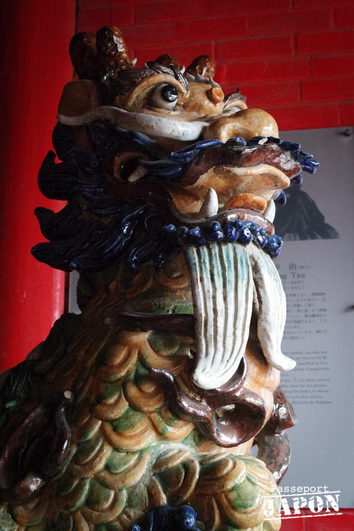 Statue de lion émaillée, temple Kôshi-byô, Nagasaki