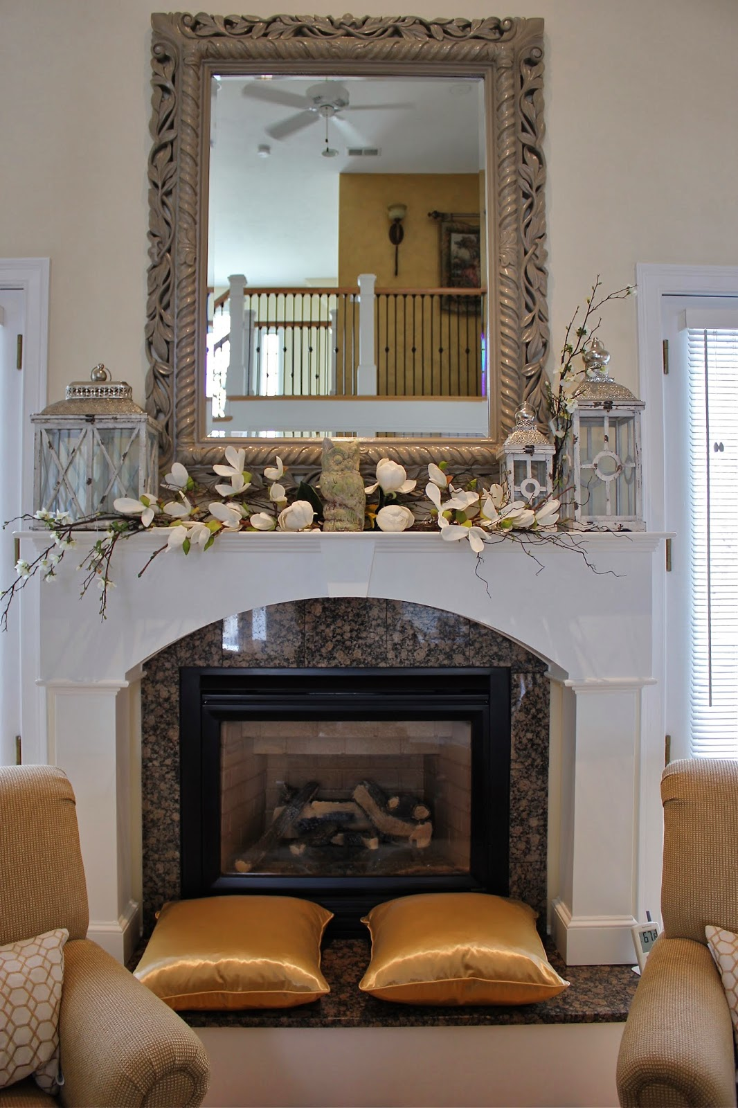 Maison decor styling a mantle with lanterns and florals - How to decorate a mantel with a mirror above it ...