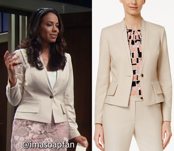 Martina Morales, Daya Vaidya, Layered Khaki Blazer, Calvin Klein, GH, General Hospital, Season 55, Episode 05/17/17