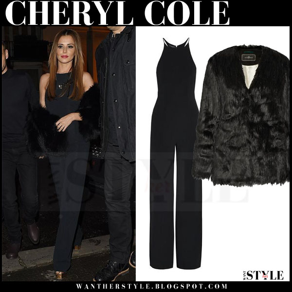Cheryl Cole in black fur malene birger coat and black jumpsuit what she wore night out
