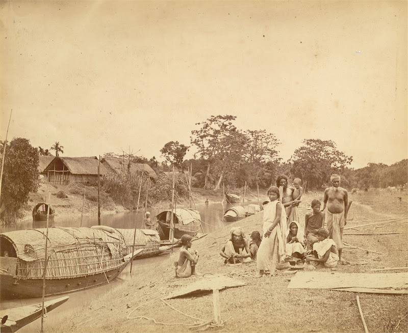 A Family on Riverside with Boats and Village in the background - Eastern Bengal c1860's