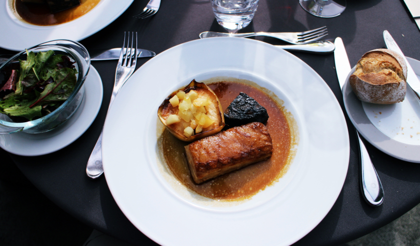 Main course on Seine cruise, Paris, France.