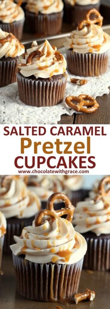 Salted Caramel Preztel Cupcakes