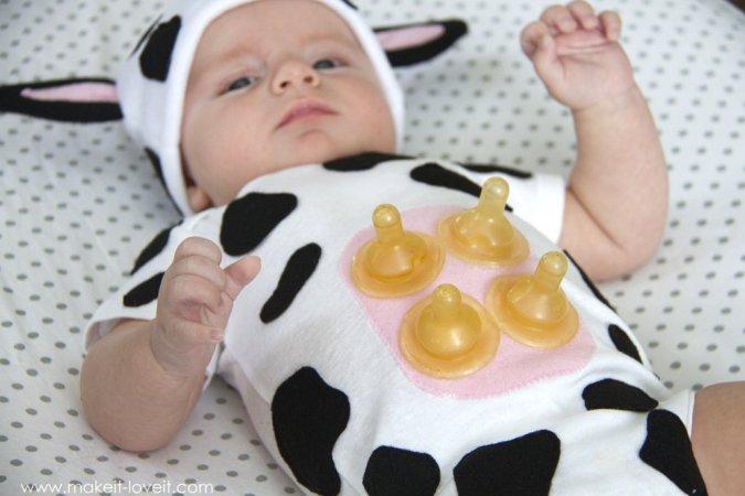 Disfraz casero de vaca para bebé
