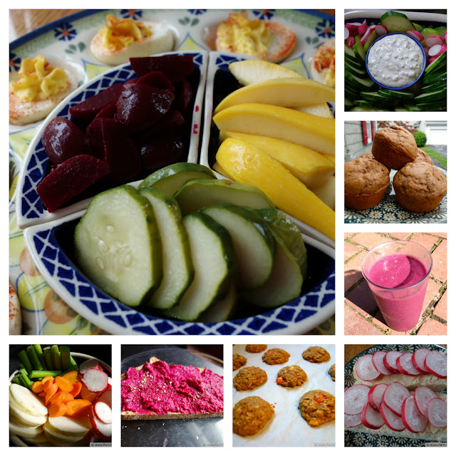 collage of vegetable and fruit-filled snacks